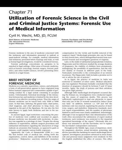 Ch71 Utilization Of Forensic Science In Civil Criminal Justice Pdf