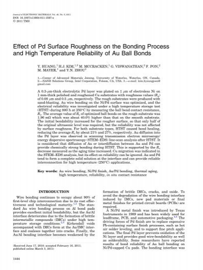 Effect of Pd Surface Roughness on the Bonding Process and