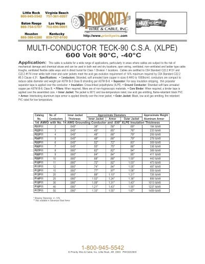 MULTI-CONDUCTOR TECK-90 C.S.A. (XLPE) - Priority Wire & Cable
