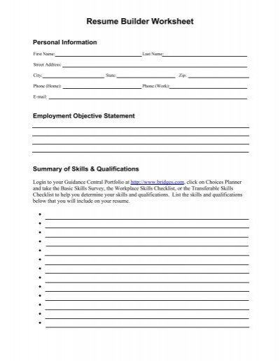 Resume Builder Worksheet | Resume Templates And Resume Builder