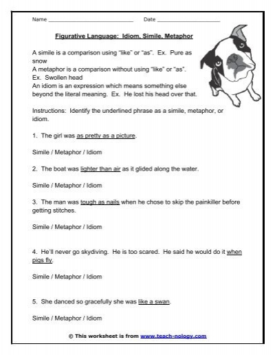 Printables Simile Vs Metaphor Worksheet simile and metaphor worksheets for elementary school math worksheet grade 5 on study writing metaphor