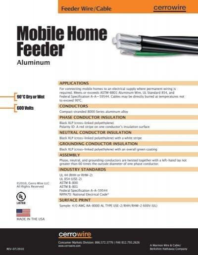 Mobile Home Feeder - Cerro Wire and Cable Company