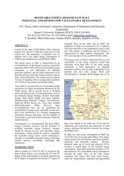 RENEWABLE ENERGY RESOURCES IN MALI - Solar Buildings ...