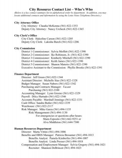 City Resource Contact List – Who's Who - City of West Palm Beach