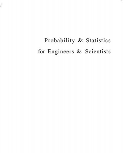 Probability Statistics For Engineers Scientists