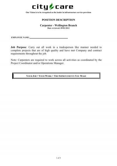 POSITION DESCRIPTION Carpenter 14 POSITION SUMMARY – Carpenter Job Description