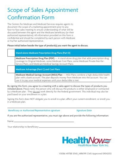 Scope of Sales Appointment Confirmation Form - HealthNow New ...