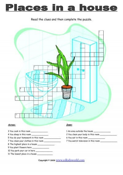 Places in a house puzzle worksheet - ESL Kids World