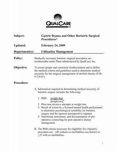 Subject: gastric bypass and other bariatric surgical.