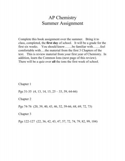 summer assignment ap chemistry