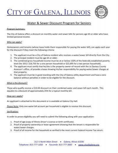 Senior Discount Application for Water/Sewer - City of Galena