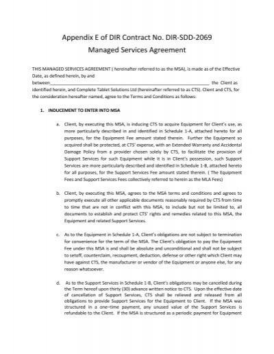 Appendix E Managed Services Agreement