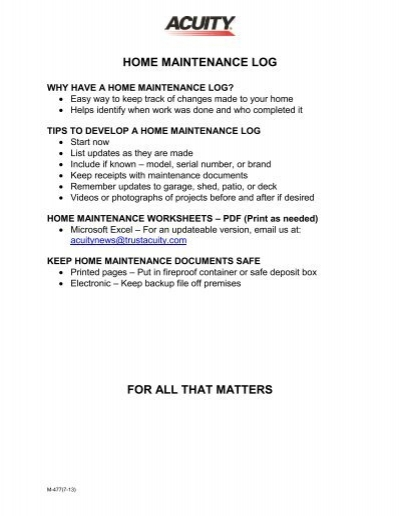 home maintenance log for all that matters acuity