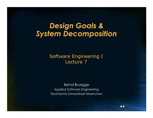 Design Goals System Decomposition Chair For Applied Software