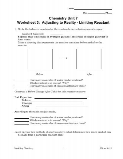 chemistry unit 7 worksheet 3 adjusting to reality limiting reactant. Black Bedroom Furniture Sets. Home Design Ideas