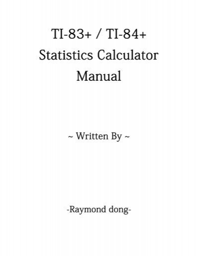 Ti 83 Or Ti 84 Calculator Instructions For Statistics To Enter Data