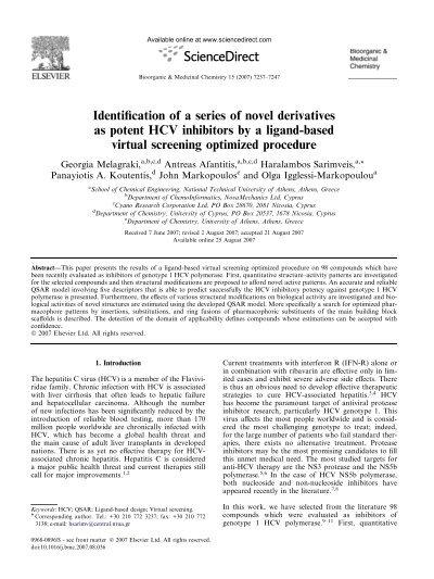 Identification Of A Series Of Novel Derivatives As Potent Hcv Afantitis