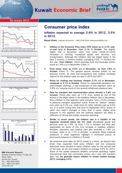Kuwait Economic Brief Consumer Price Index National Bank Of