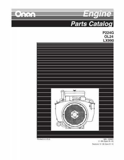 Onan Engine Parts Catalog : Onan engine parts catalog p g spec b h feb