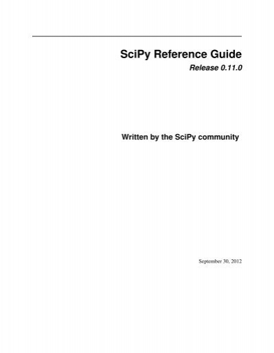Scipy Reference Guide Numpy And Scipy Documentation