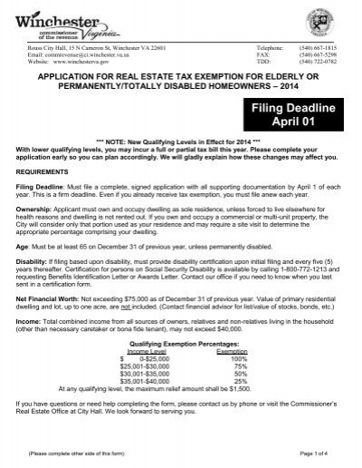 Tax Relief Application for the Elderly or Disabled - City of