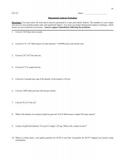 Mole Worksheet (Dimensional Analysis) #2