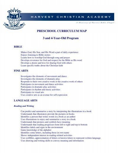 preschool curriculum program preschool curriculum map 3 and 4 year program 473