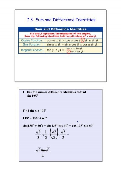 7 3 Sum And Difference Identities