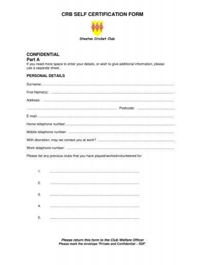 CRB SELF CERTIFICATION FORM - Steeton Cricket Club