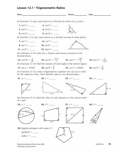 lesson 12.2 problem solving with right triangles worksheet answers