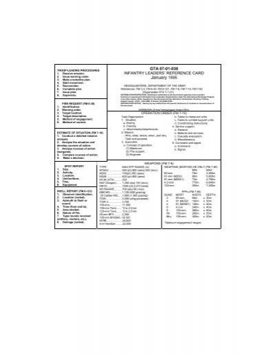 infantry leader u0026 39 s reference card