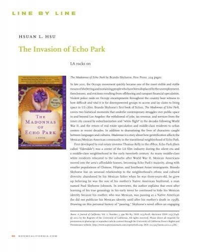 the madonna s of echo park chapter summaries The madonnas of echo park a novel (book) : skyhorse, brando : we slipped into this country like thieves, onto the land that once was ours with these words, spoken by an illegal mexican day laborer, the madonnas of echo park takes us into the unseen world of los angeles, following the men and women who cook the meals, clean the homes.