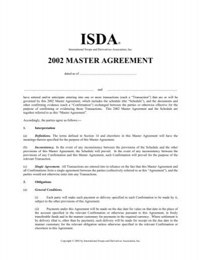 2002 Isda Master Agreement Law Economics Center