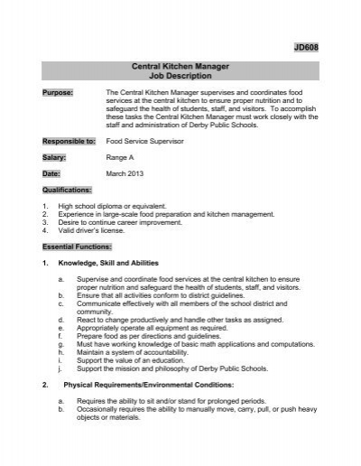 Superbe JD608 Central Kitchen Manager Job Description   Derby Public .