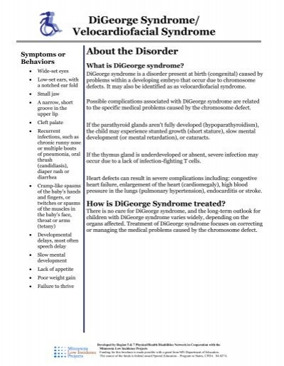 DiGeorge Syndrome - MN Low Incidence Projects