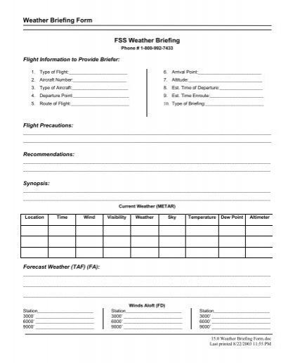 Weather Briefing Form FSS Weather Briefing - Superior Flight School