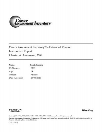 CAI Enhanced Sample Interpretive Report   TalentLens