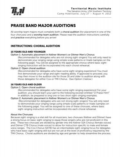 praise band major auditions the salvation army usa southern