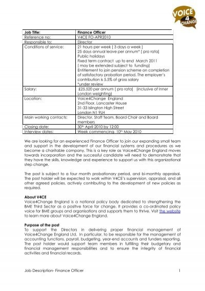 Job Description- Finance Officer 1 Job Title: Finance