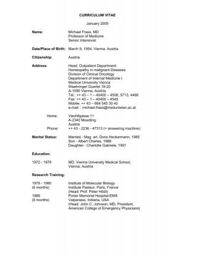 curriculum vitae january 2005 name  michael frass  md