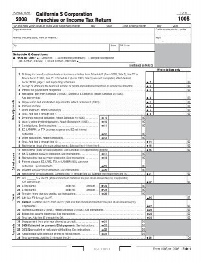 2008 Form 100S California S Corporation Franchise Or Income