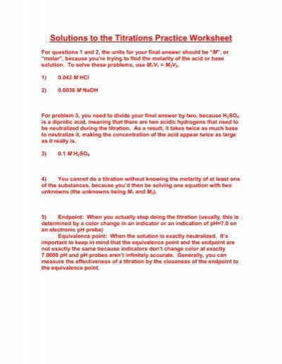 Printables Titrations Practice Worksheet solutions to the