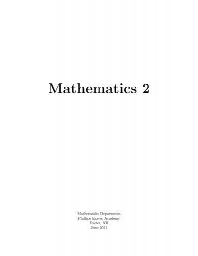 Mathematics 2 Problem Sets Sophomore Combo
