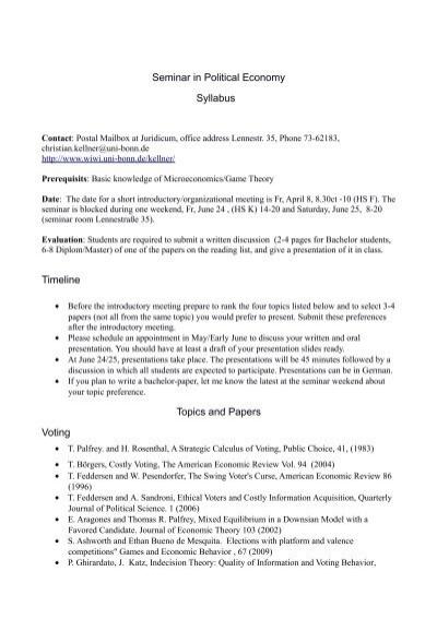 seminar in political economy syllabus timeline topics and papers seminar in political economy syllabus timeline topics and papers