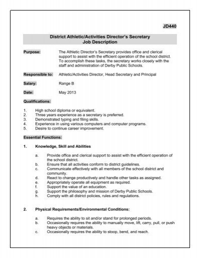 Jd District AthleticActivities DirectorS Secretary Job Description