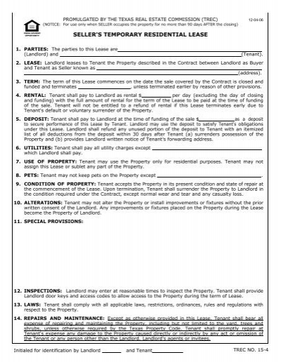 Form 15 4 Seller S Temporary Residential Lease