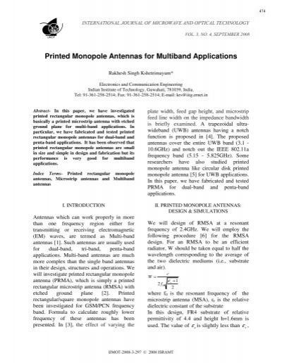 Printed Monopole Antennas for Multiband Applications - Ijmot com