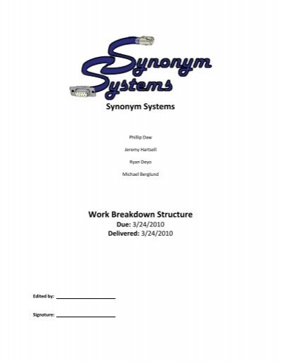 Synonym Systems Work Breakdown Structure on