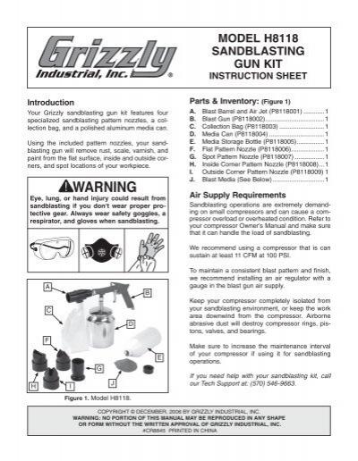 model h8118 sandblasting gun kit instruction sheet grizzly rh yumpu com User Manual sandblaster user manual