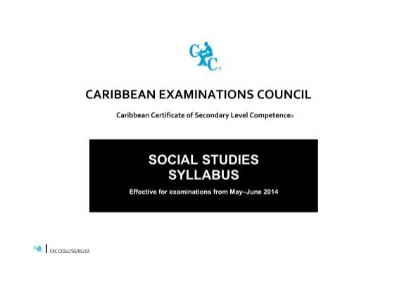 csec mayjune2013 social studies sr Office administration cxc past paper 2   cxc syllabus social studies .